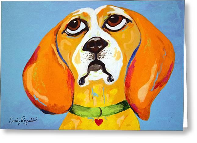 Belinda The Beagle Greeting Card by Emily Reynolds Thompson