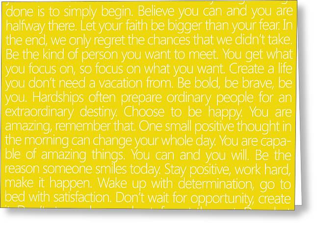 Believe In Yourself Yellow Greeting Card by Sabine Jacobs