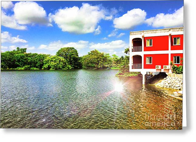 Belize River House Reflection Greeting Card