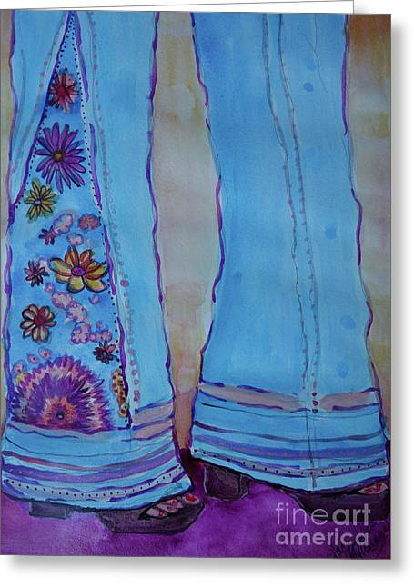 Greeting Card featuring the painting Bell Bottoms by Jacqueline Athmann