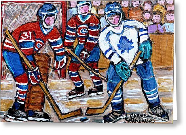 Bell Center Hockey Painting Carey Price Goalie Original 6  Habs Vs Leafs Hockey Art Carole Spandau Greeting Card