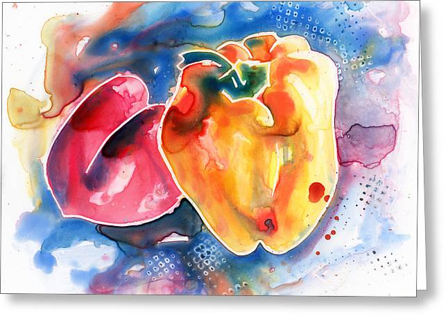 Watercolour Greeting Cards - Bell Peppers II Greeting Card by Yevgenia Watts