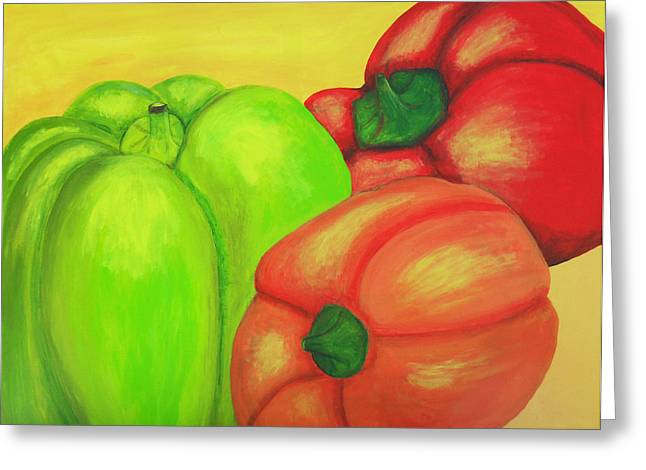 Bell Peppers Greeting Card by M Valeriano
