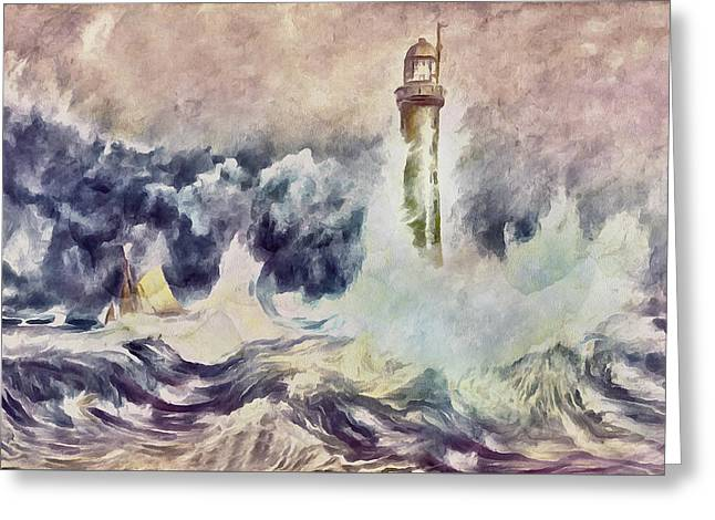 Bell Rock Lighthouse After Turner Greeting Card by Georgiana Romanovna