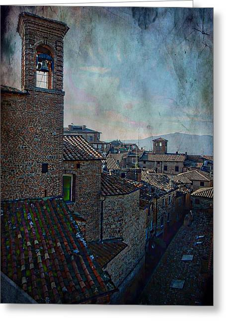 Bell Tower And Rooftops Citta Della Pieve Greeting Card