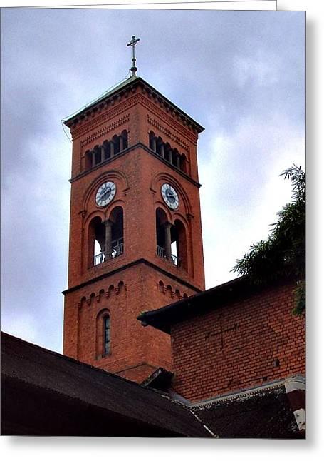 Bell Tower Greeting Card by Bridgette  Allan