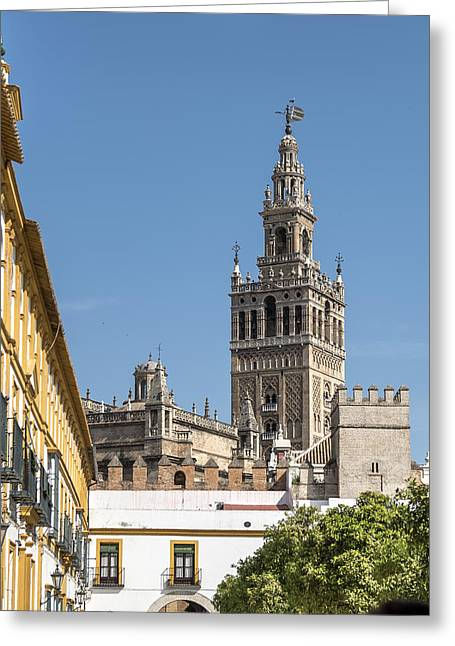 Bell Tower - Cathedral Of Seville - Seville Spain Greeting Card by Jon Berghoff