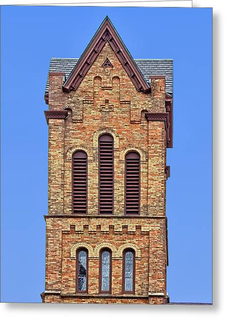 Bell Tower - First Congregational Church - Jackson - Michigan Greeting Card by Nikolyn McDonald