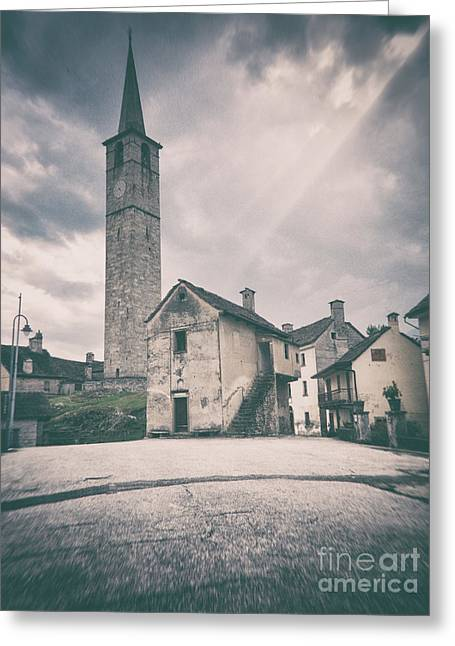 Greeting Card featuring the photograph Bell Tower In Italian Village by Silvia Ganora