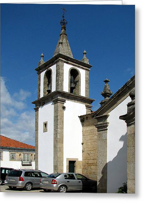 Bell Tower Of Santa Maria Church In Vigo Spain Greeting Card by Carla Parris