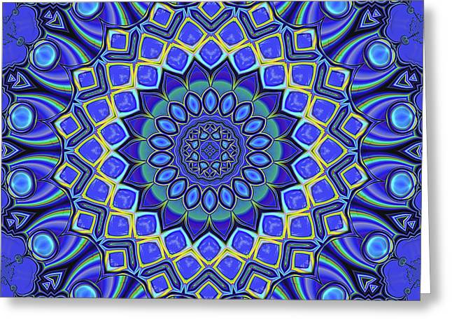 Greeting Card featuring the digital art Bella - Blue by Wendy J St Christopher