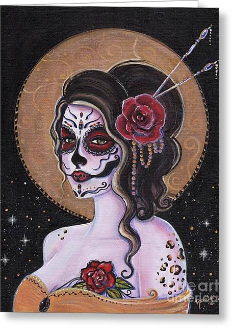 Bella Muerte Day Of The Dead Greeting Card by Renee Lavoie