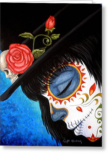 Painted Face Greeting Cards - Bella Muerte Returns Greeting Card by Al  Molina