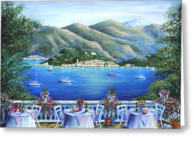 Table Wine Greeting Cards - Bellagio From The Cafe Greeting Card by Marilyn Dunlap