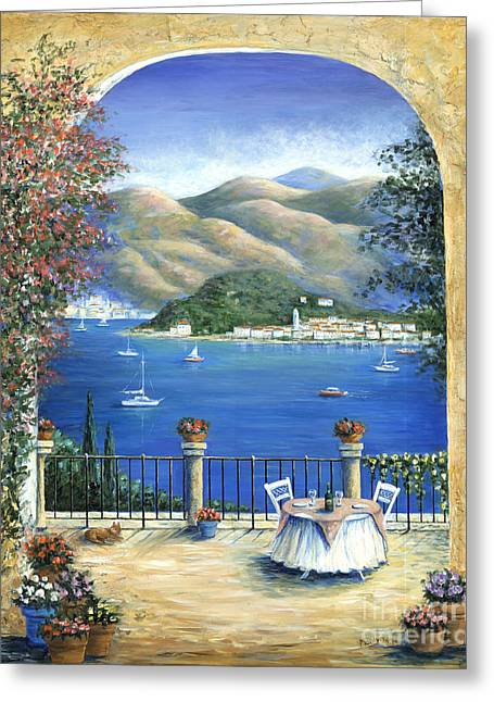 Lake Como Paintings Greeting Cards - Bellagio Lake Como From the Terrace Greeting Card by Marilyn Dunlap