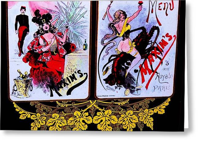 Inauguration Greeting Cards - belle epoque-vintage Maxims menu Greeting Card by Adolfo hector Penas alvarado