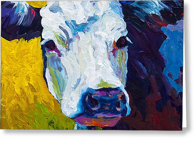 Cow Paintings Greeting Cards - Belle Greeting Card by Marion Rose