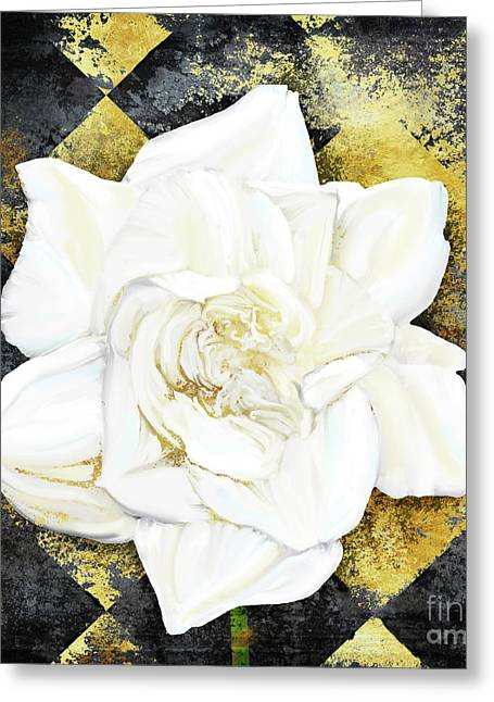 Belle, White Gardenia Blooms Amidst French Art Deco Grunge Greeting Card by Tina Lavoie