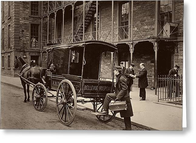 Bellevue Hospital Ambulance 1895 Greeting Card by Mountain Dreams