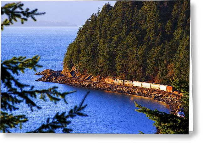 Bellingham Bay And Train Greeting Card