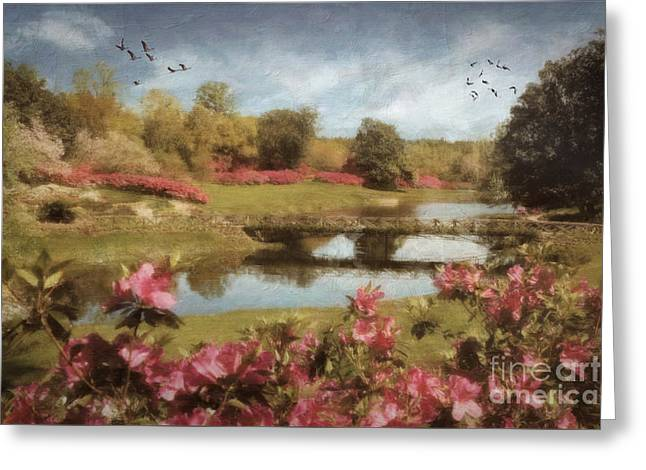 Greeting Card featuring the digital art Bellingrath Gardens by Lianne Schneider