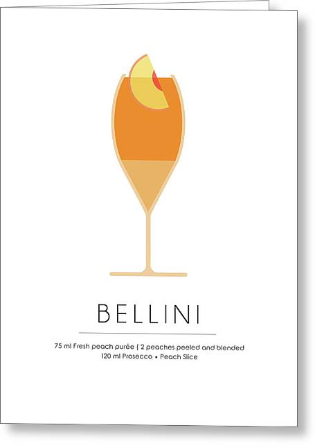 Bellini Classic Cocktail - Minimalist Print Greeting Card