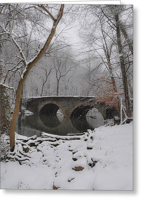 Bells Mill Bridge On A Snowy Day Greeting Card by Bill Cannon