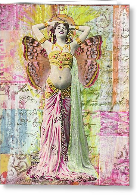 Greeting Card featuring the mixed media Belly Dancer by Desiree Paquette