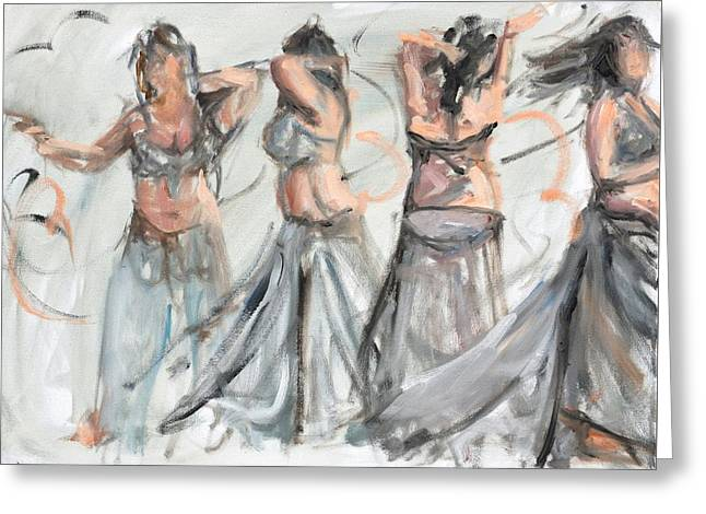 Belly Dancer In Motion Greeting Card by Donna Tuten