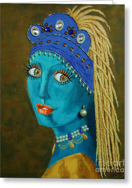 Belly Dancer With A Pearl Earring -- The Original -- Whimsical Redo Of Vermeer Painting Greeting Card by Jayne Somogy