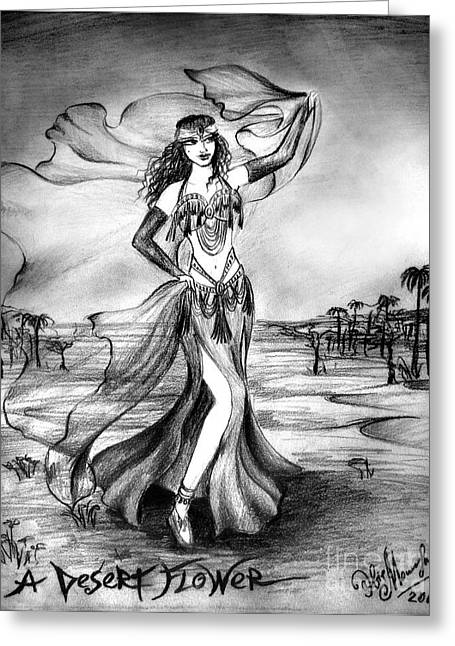 Belly Dancer With Veil. Desert Rose Greeting Card by Sofia Metal Queen