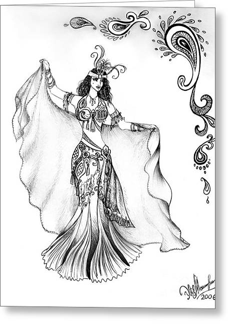 Belly Dancer With Veil. Friend Of Ameynra Greeting Card by Sofia Metal Queen
