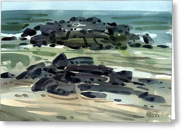 Atlantic Ocean Paintings Greeting Cards - Belmar Jetty Three Greeting Card by Donald Maier