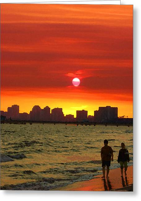 Belmont Shore Sunset Greeting Card