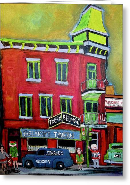 Belmont Tavern Pointe St. Charles Memories Greeting Card by Michael Litvack