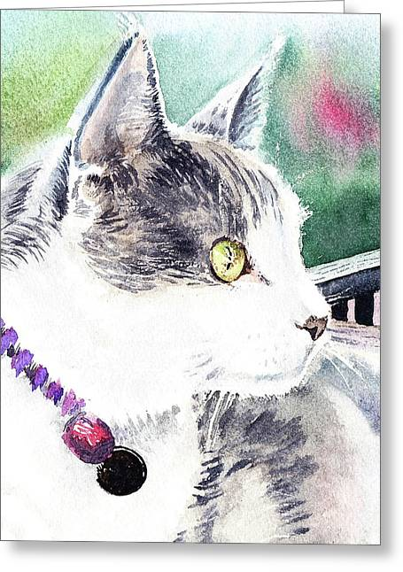 Beloved Cat Portrait  Greeting Card by Irina Sztukowski