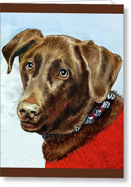Beloved Dog Portrait  Greeting Card by Irina Sztukowski