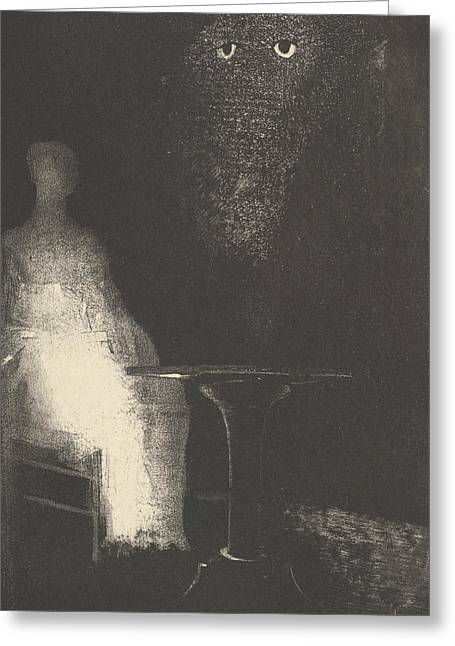Below, I Saw The Vaporous Contours Of A Human Form Greeting Card by Odilon Redon