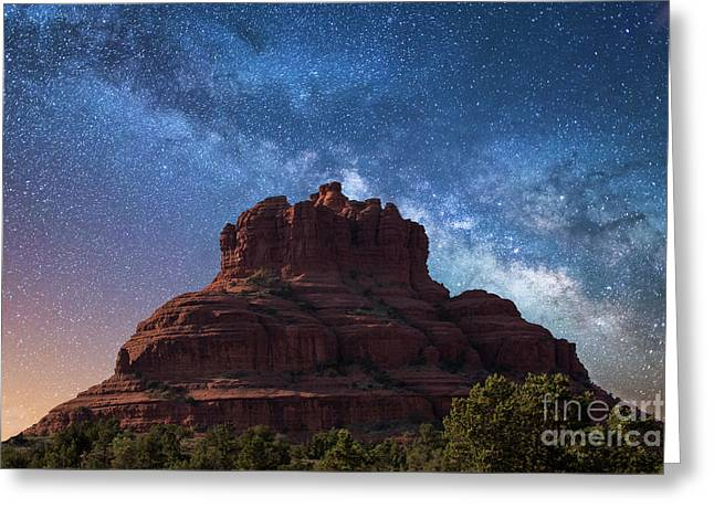 Below The Milky Way At Bell Rock Greeting Card