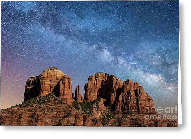 Below The Milky Way At Cathedral Rock Greeting Card
