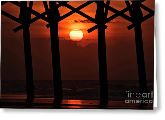 Greeting Card featuring the photograph Below The Pier by DJA Images