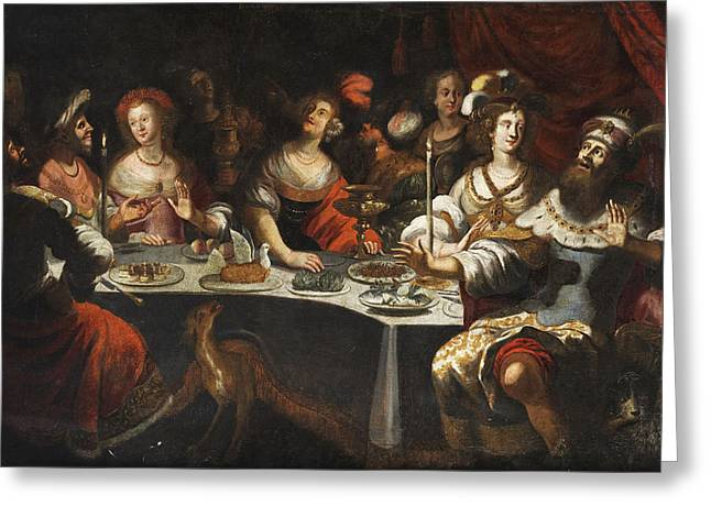 Belshazzar's Feast Greeting Card by Circle of Bartholomeus Strobel the Younger