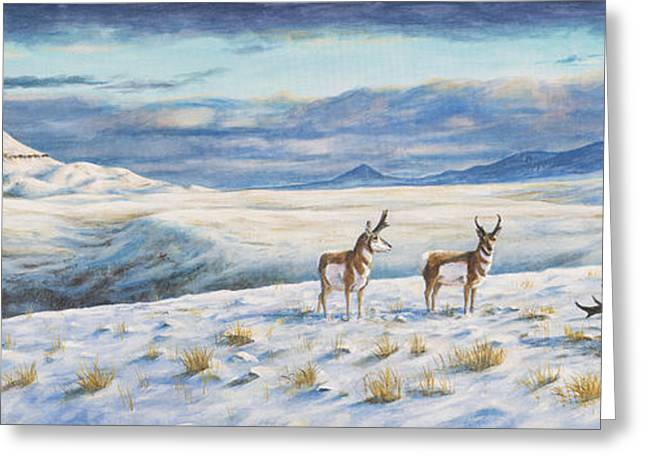 Greeting Card featuring the painting Belt Butte Winter by Kim Lockman