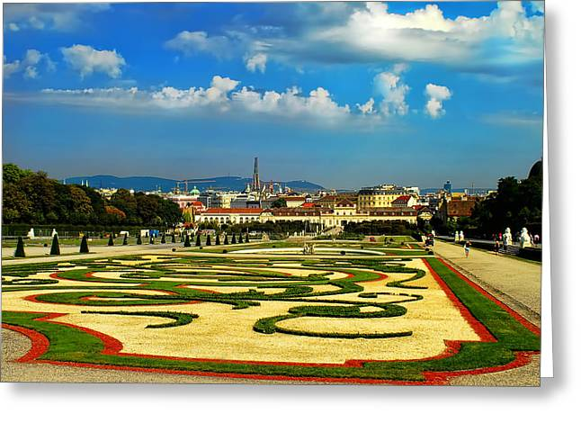 Greeting Card featuring the photograph Belvedere Palace Gardens by Mariola Bitner