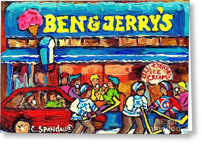 Ben And Jerry's Ice Cream Parlor Winter Hockey Scene Montreal Art Canadian Artist Carole Spandau     Greeting Card by Carole Spandau