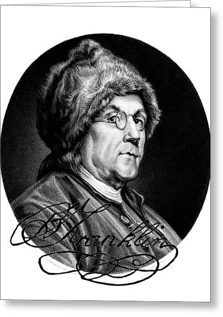 Ben Franklin Autographed Greeting Card by John Feiser