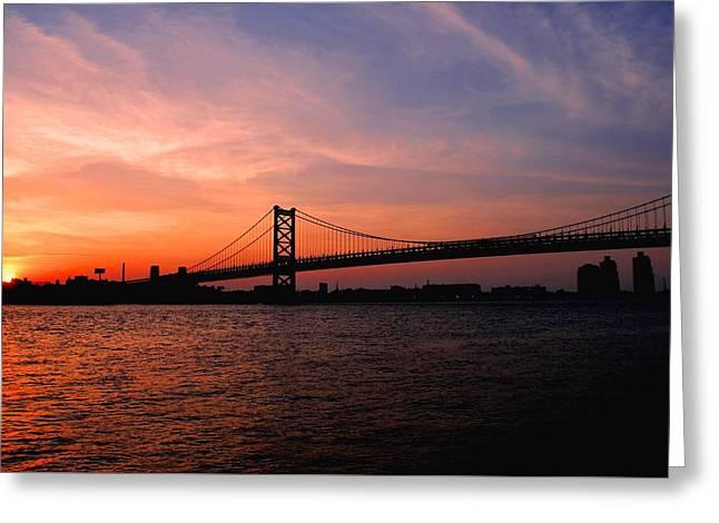 Ben Franklin Bridge Sunset Greeting Card