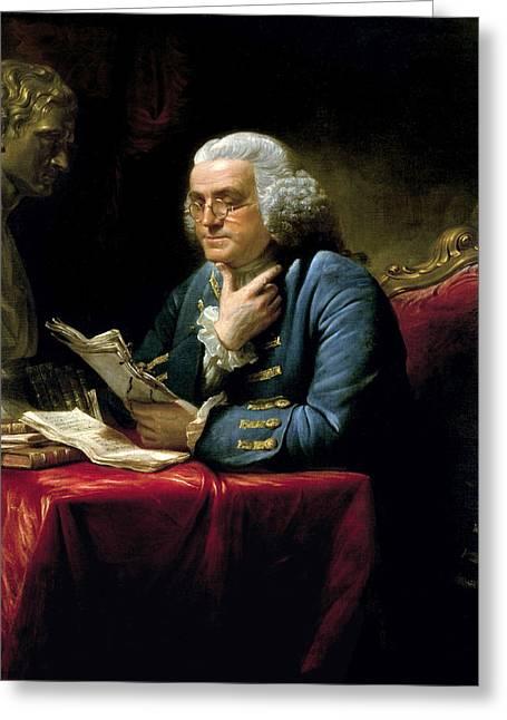Ben Franklin Thumb Portrait 1767 Greeting Card