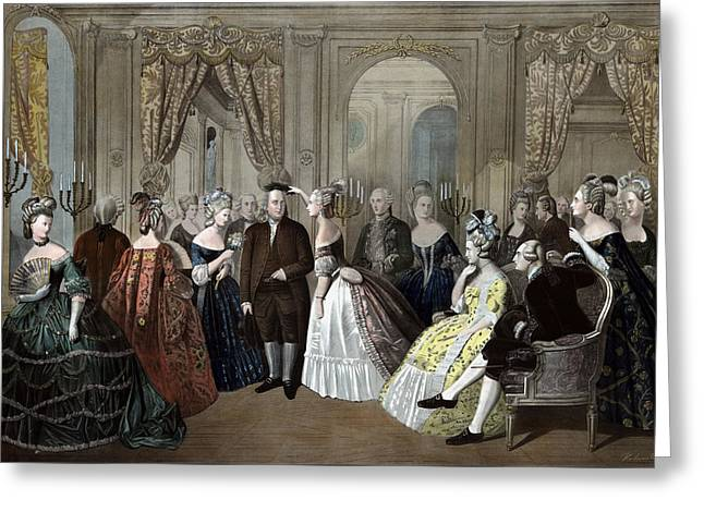 Ben Franklin's Reception At The Court Of France  Greeting Card