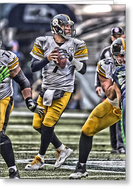 Ben Roethlisberger Pittsburgh Steelers Art Greeting Card by Joe Hamilton